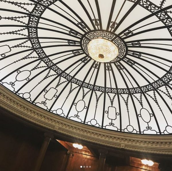 The intricately designed glass domw above the grand staircase..