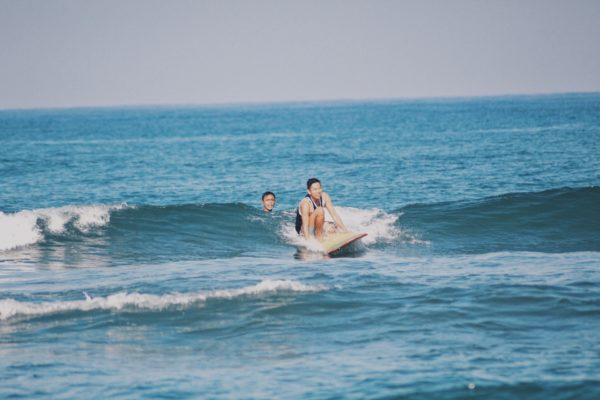 One of the bloggers tried surfing during our second day at the resort.