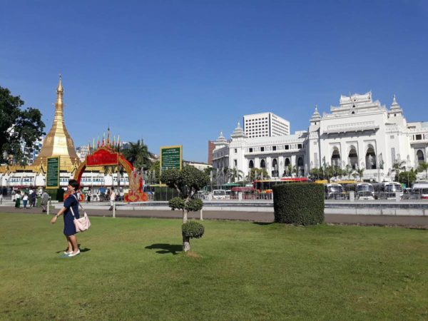 A view of Sule Pagoda and Yangon City Hall from Maha Bandoola Park