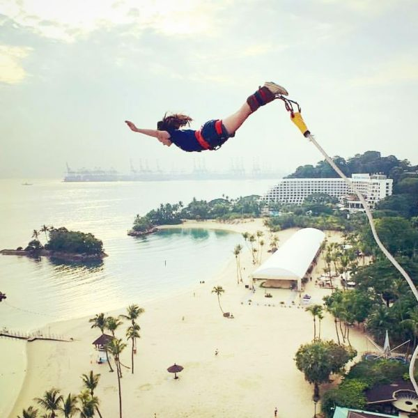 Adrenaline reaches an all-time high at AJ Hackett's whopping 50-meter bungy tower.