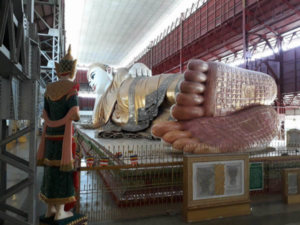Upon entering the Chauk Htat Gyi Pagoda, go to the right side towards the feet of Buddha so you can have a good spot for photo opp.