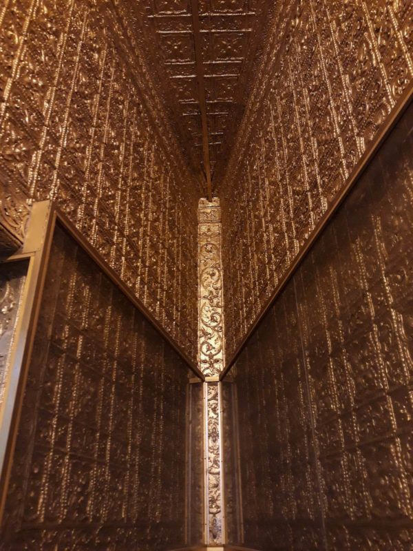 Gold plated walls in Botataung Pagoda.