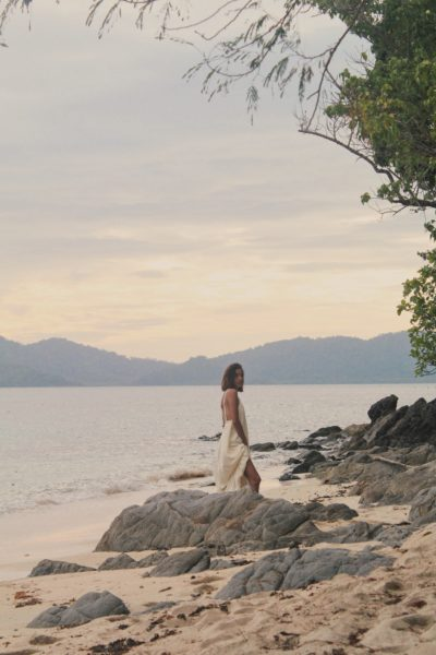 Kimi Juan doing a photo shoot during sunset in the island.