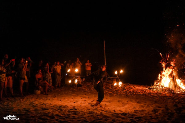 We enjoyed this thrilling firedance performance after our dinner.