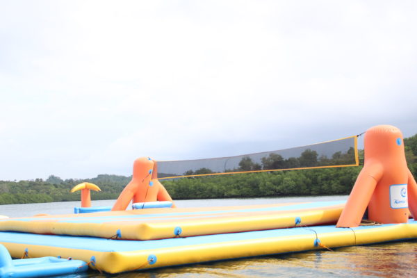 Largest inflatable volleball court is also can also be played here.