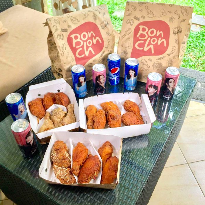 Bonchon Triple Sampler with limited edition Pepsi Blackpink in Can