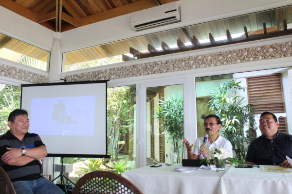 Lucas Nunag, chair of the Bohol provincial tourism council, and Bohol Provincial Administrator Alfonso Damalerio II on the upcoming 2018 Sandugo Festival.