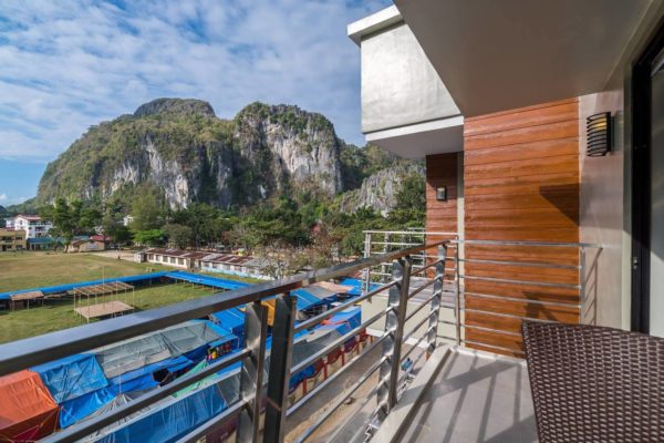 View of the lime cliff formations from Deluxe Queen Balcony of Coral Cliff Hotel in El Nido Palawan