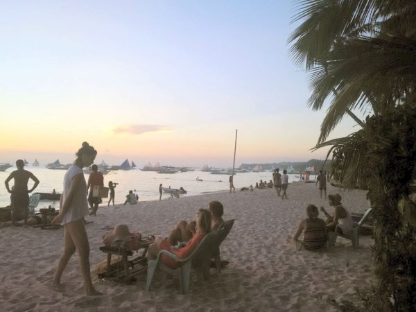 White Beach and Sunset from Red Pirates Pub