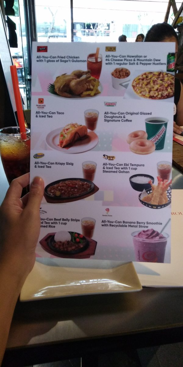 A menu of all the offerings in MGI's Eat-all-You-Can Wednesdays