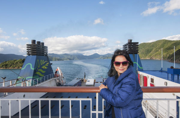 Shooting the breeze as the ferry slows down while approaching Picton.