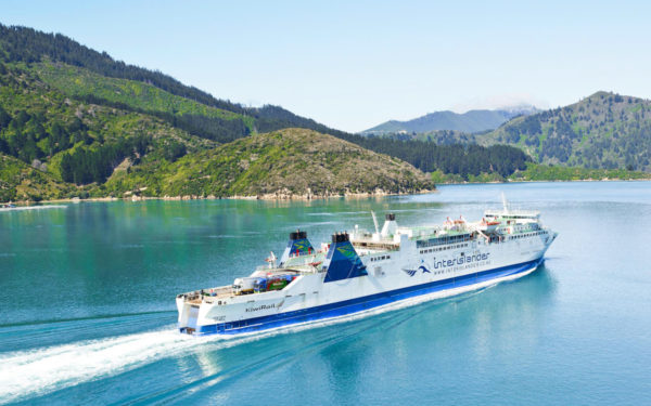 The Aratere sailing up the South Island's turquoise waters. (Photo courtesy of Interislander website)