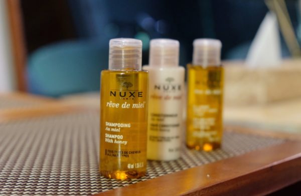 The bathroom is also complete with Nuxe shower gell, shampoo, hair conditioner and massage soap from Paris.