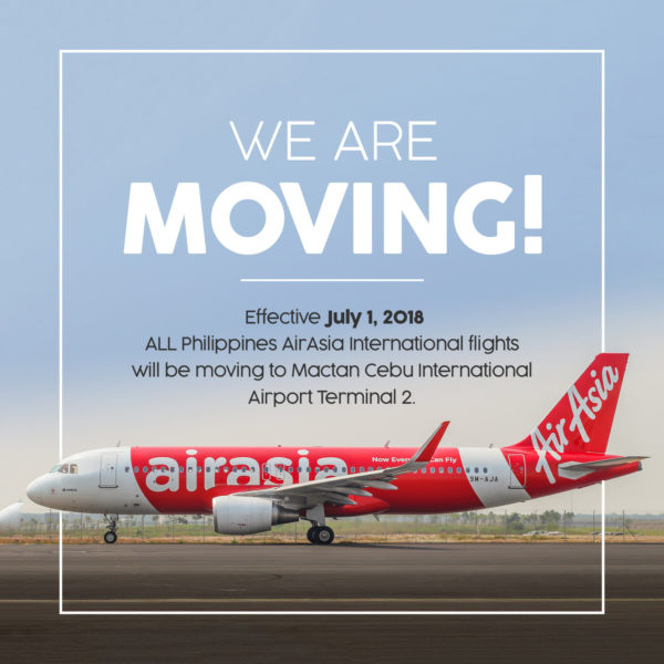 AirAsia moves international flights to new terminal 2 in Mactan Cebu International Airport effective July 1