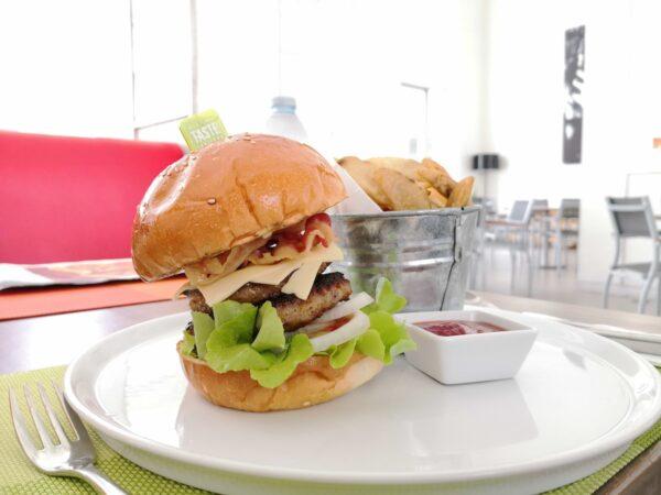 Burger and Potato Wedges