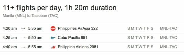 Flights from Manila to Tacloban City