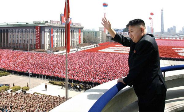Kim Jong-un at Kim Il-sung Square in Pyongyang
