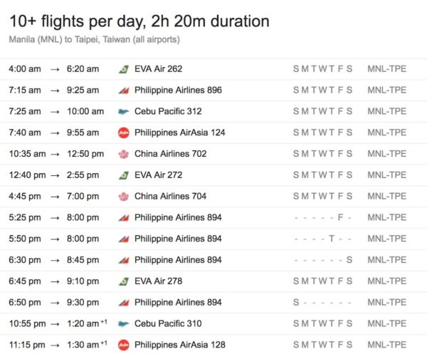 Manila to Taipei Taiwan Flight Schedule