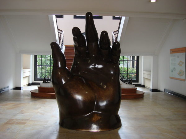This Botero sculpture greets patrons as they come in the front door.