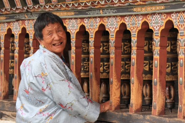 Bhutan local visiting the temple