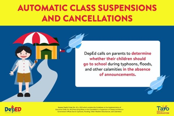 DepEd Automatic Class Suspensions and Cancellations