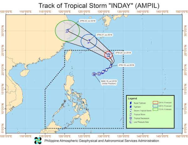 PAGASA track of Tropical Storm Inday