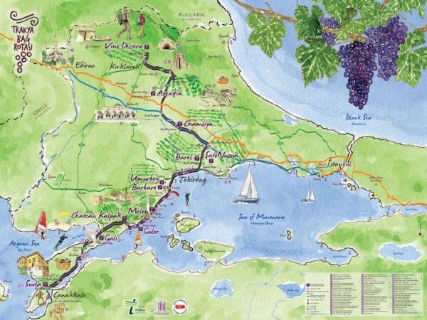 The Thrace Wine Route Map via Thrace Tourism Operators Association
