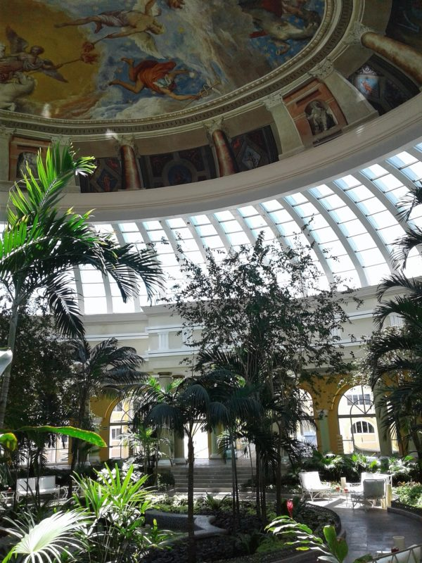 The atrium off the lobby (note Venetian painted ceiling)