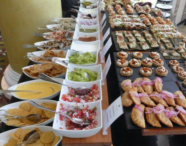 The nacho, taco and empanada station