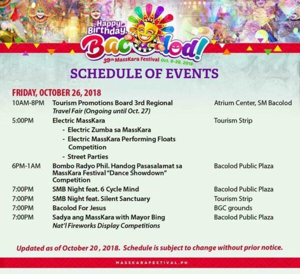 2018 Official MassKara Festival Schedule of Events