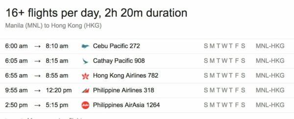 Manila to Hong Kong Flights