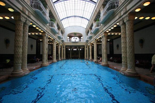 The effervescent swimming pool in Gellert Baths photo by Roberto Ventre via Wikipedia CC