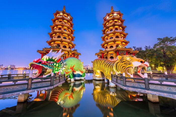 Kaohsiung, Taiwan Dragon and Tiger Pagodas at Lotus Pond