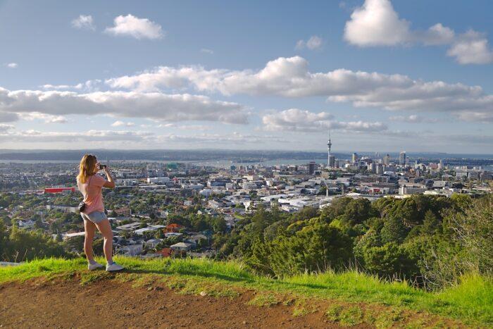 View of Auckland from Mount Eden photo via DepositPhotos