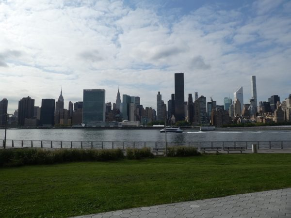 The UN building dominates the NYC skyline view from the Wythe Hotel