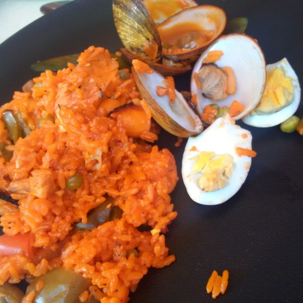 A satisfying portion of Paella Valenciana for two