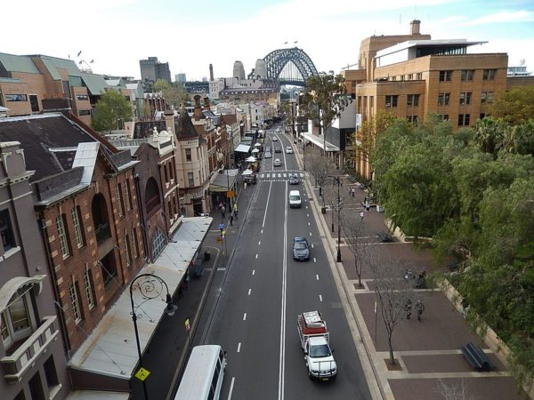The Rocks District in Sydney by Mike Cogh via Wikipedia CC