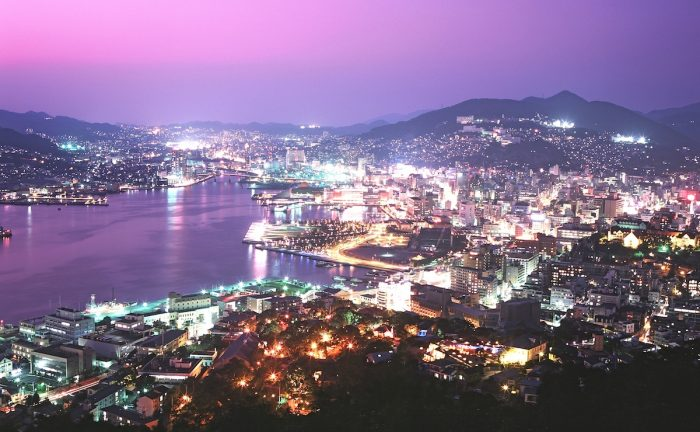 Night view from Mt. Nabekanmuri, Nagasaki City