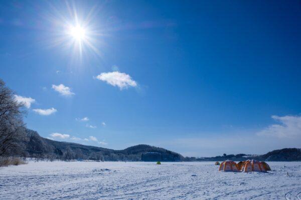 The frozen Abashiri Lake in Hokkaido