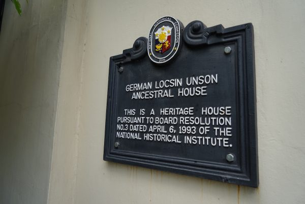 German Locsin Unson Anscestral House National Historical Commission Marker