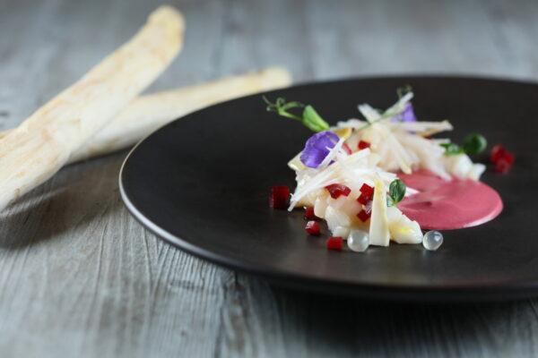 Raw White Asparagus Salad with Hokkaido Scallop Tartar, Yuzu Caviar and Beetroot by Chef Andrea Delzanno at Cucina Hong Kong