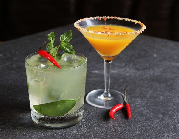 Thai Cocktails at Connect Lounge (Spicy Thai Basil and Mint Mojito, and Thai Mango Martini)