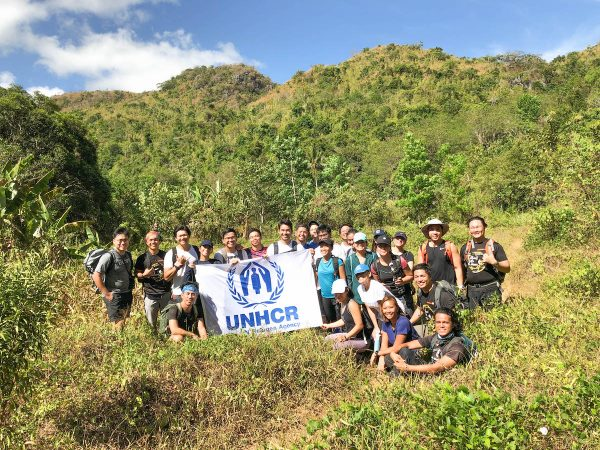 UNHCR Goodwill Ambassador, Atom Araullo, and Eco-tourism group Trail Adventours' co-founders Coby Sarreal and Guido Sarreal, lead a group of hikers up the famous Nagpatong Rock in Tanay, Rizal. This group of newfound determined mountaineer friends took the path less travelled to show their solidarity with refugees.