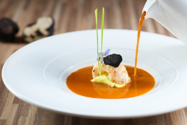 Scampi Bisque with Seared Scampi Tail and Black Truffle