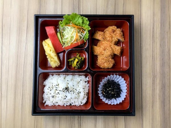 Pork Tonkatsu is one of the options for the mini bento boxes.priced at Php350 (Vat inclusive)