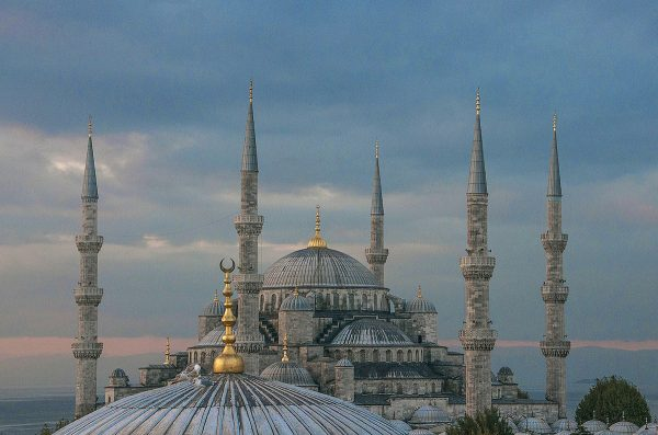 Golden spires accentuate the domes of the Blue Mosque.