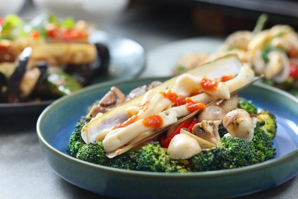 Razor Clam with Broccoli and Mushroom Salad SURF 'N TURF Dinner Buffet