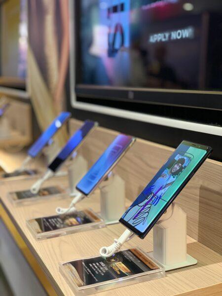 Smartphones on display at PLDT-Smart One Digital Store