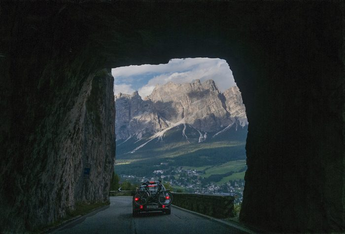 In through the tunnel while leaving the Dolomites.