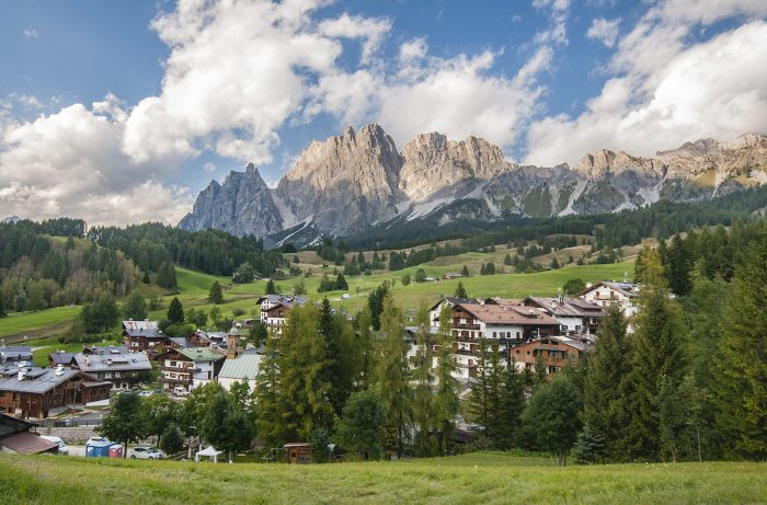 The Dolomites form a perfect backdrop to the town of Cortina d'Ampezzo